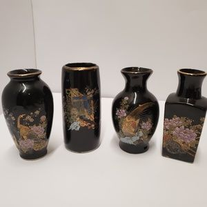 """4 small japanese floral peacock vases 3-4"""""""